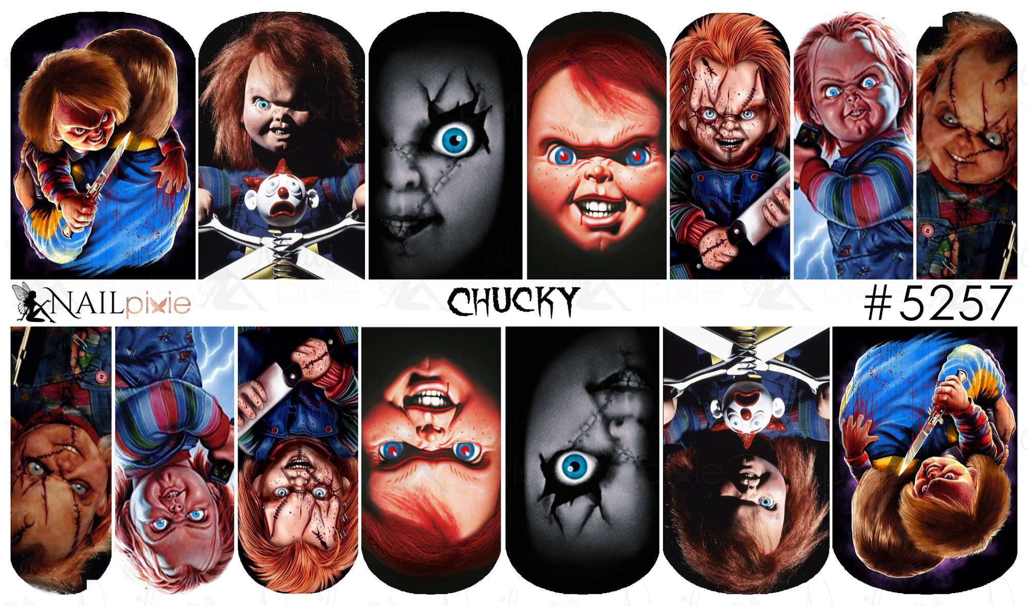 CHUCKY Childs Play Horror Full Cover Halloween Nail Decal ...