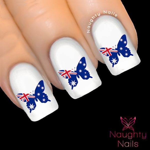 AUSTRALIAN FLAG Butterfly Nail Water Transfer Decal Sticker Tattoo ...