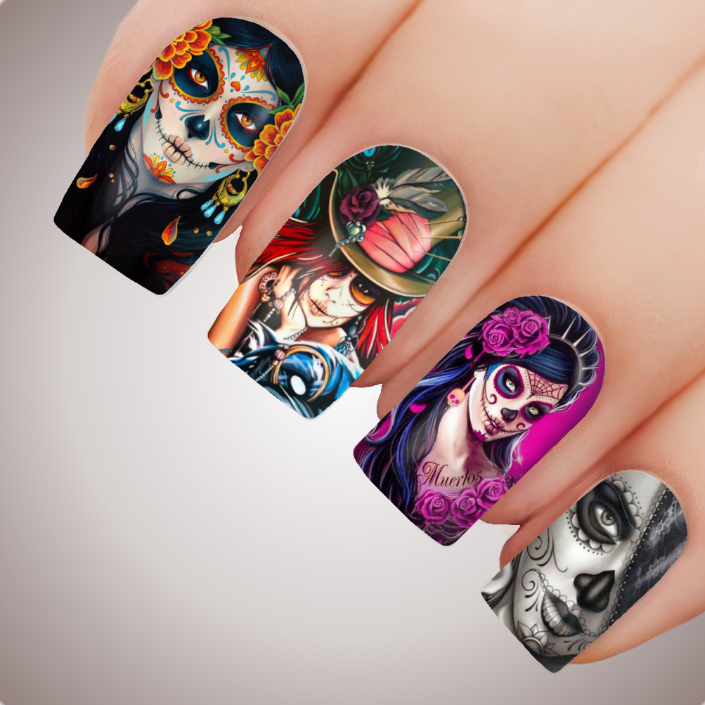 Sugar Skull Halloween Day Of Dead Full Nail Art Decal Water
