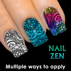 NAIL ZEN #306 Mandala Colouring in Water Transfer Decal Sticker Art Tattoo