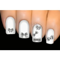 Mixed Silver Bows - BOW Nail Art 3D Transfer Decal Sticker - BLE-051J