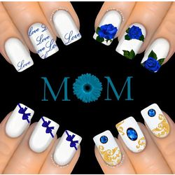 6Pc BLUE GIFT PACK MOTHERS DAY Nail Water Transfer Decal Sticker Art Tattoo