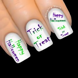 Purple/Green HAPPY HALLOWEEN Nail Water Transfer Decal Sticker Art Tattoo