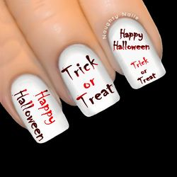 Blood Red HAPPY HALLOWEEN Nail Water Transfer Decal Sticker Art Tattoo