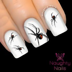 Red Back Spider Halloween Nail Water Transfer Decal Sticker Art Tattoo