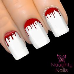 Blood Dripping Vampire Halloween Nail Water Transfer Decal Sticker Art Tattoo