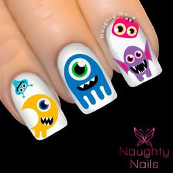 HALLOWEEN Cute Scary Monsters Costume Nail Water Transfer Decal Sticker Art Tattoo