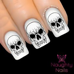 HALLOWEEN Scary Skull Nail Water Transfer Decal Sticker Art Tattoo