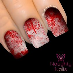 BLOODIFY My Nails Water Transfer Nail Decal Sticker Art Tattoo Blood