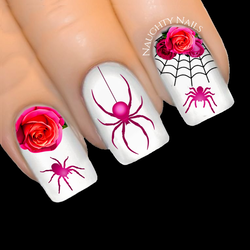 HOT PINK Elegant Spider Rose Halloween Web Nail Water Decal Sticker Art Tattoo
