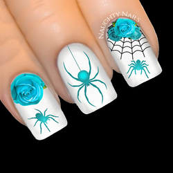 TURQUOISE Elegant Spider Rose Halloween Web Nail Water Decal Sticker Art Tattoo