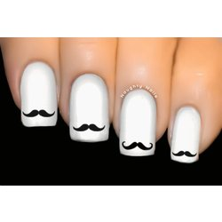 Black Moustache - INSPIRED Nail Art Water Tattoo Decal Sticker Movember D-305