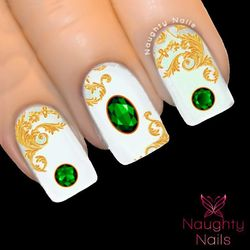 EMERALD GEMSTONE Green Nail Water Transfer Decal Sticker Art Tattoo