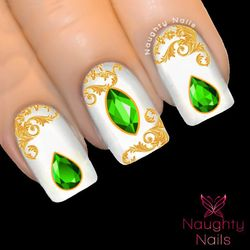 PERIDOT GEMSTONE Green Nail Water Transfer Decal Sticker Art Tattoo