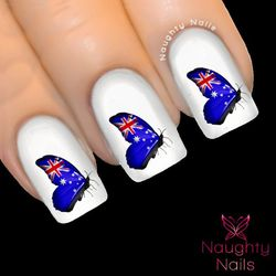 AUSTRALIAN FLAG Butterfly Side Nail Water Transfer Decal Tattoo Australia Day