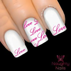 LOVE CURSIVE in MAGENTA Valentines Day Nail Water Transfer Decal Sticker Art Tattoo