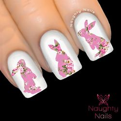 BUNNY in ABIGAIL FLORAL Nail Water Transfer Decal Sticker Art Tattoo