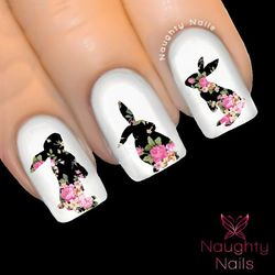 Bunny in ANASTACIA FLORAL Accent Nail Water Transfer Decal Sticker Art Tattoo