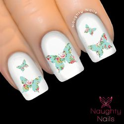 BUTTERFLY in AMELIA FLORAL Accent Nail Water Transfer Decal Sticker Art Tattoo