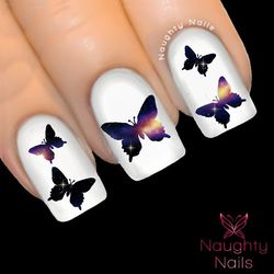 BUTTERFLY in NOVA GALAXY Accent Nail Water Transfer Decal Sticker Art Tattoo