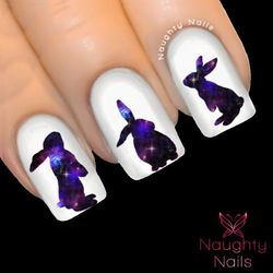 BUNNY in CELESTIAL GALAXY Accent Nail Water Transfer Decal Sticker Art Tattoo