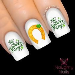 LUCKY HORSESHOE Saint Patricks Day Nail Water Transfer Decal Sticker Art Tattoo