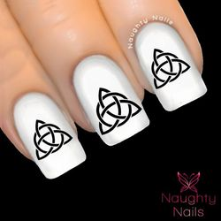 Onyx TRIQUETRA Celtic Nail Water Transfer Decal Sticker Art Tattoo Wicca Witchcraft