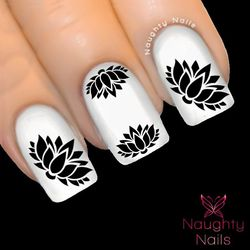 BLACK LOTUS Silhouette Nail Water Transfer Decal Sticker Art Tattoo Meditation