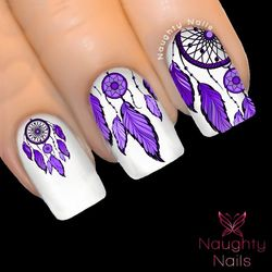 MAJESTIC Purple DREAM CATCHER Nail Water Transfer Decal Sticker Art Tattoo Feather