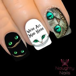 ALL MAD Cheshire Cat Alice in Wonderland Full Cover Nail Water Transfer Decal Sticker Art Tattoo