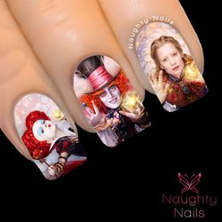 LOOKING GLASS Alice in Wonderland Full Cover Nail Water Transfer Decal Sticker Art Tattoo