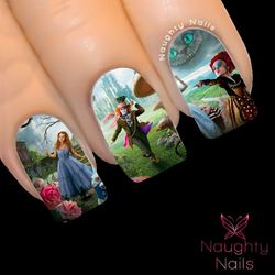 WONDERLAND Alice in Wonderland Full Cover Nail Water Transfer Decal Sticker Art Tattoo