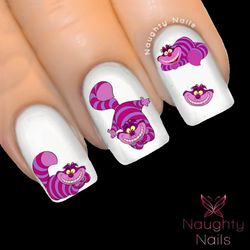 ORIGINAL Cheshire Cat Alice in Wonderland Full Cover Nail Water Transfer Decal Sticker Art Tattoo