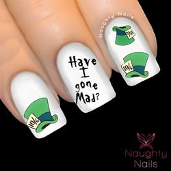 MAD HATTER Hats Alice in Wonderland Full Cover Nail Water Transfer Decal Sticker Art Tattoo