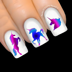 UNICORN Magic - ENCHANTED Silhouette Nail Water Transfer Decal Sticker Art Tattoo