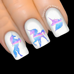 UNICORN Galaxy - RAINBOW Dreams Silhouette Nail Water Transfer Decal Sticker Art Tattoo