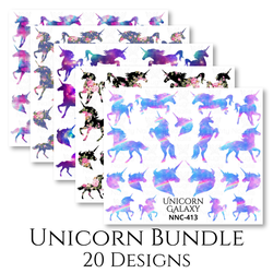 UNICORN BUNDLE - 20 x Silhouette Nail Water Transfer Decals on A4 Sheet