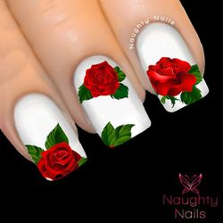 MAJESTIC RED ROSE Nail Water Transfer Decal Sticker Art Tattoo