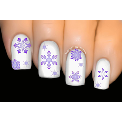 Purple Snowflake Christmas Nail Decal Xmas Water Transfer Sticker Tattoo