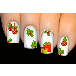 Xmas Holly Christmas Nail Decal Water Transfer Sticker Tattoo