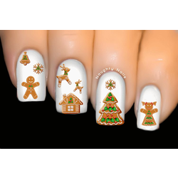 Gingerbread Cookies Christmas Nail Decal Xmas Water Transfer Sticker Tattoo