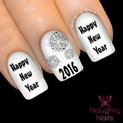 Black HAPPY NEW YEAR 2016 Party Nail Water Transfer Decal Sticker Fireworks