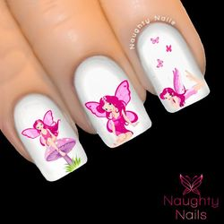 ROSE FAIRY Pink Fairies Nail Water Transfer Decal Sticker Art Tattoo
