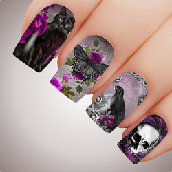 Magenta GOTHIC FANTASY Full Cover Halloween Nail Decal Art Water Slider Sticker