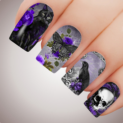 Purple GOTHIC FANTASY Full Cover Halloween Nail Decal Art Water Slider Sticker