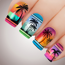 TROPICAL PALM Tree Full Cover Nail Decal Art Water Slider Sticker