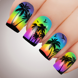 TROPICAL PALM Full Cover Nail Decal Art Water Slider Sticker