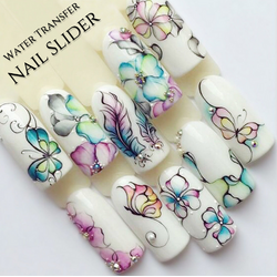 Spring Flowers Floral Butterflies Nail Water Transfer Decal Sticker Art Slider