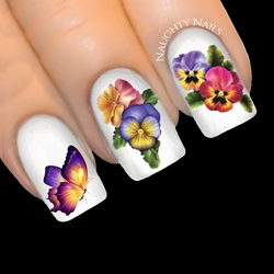 PANSY & BUTTERFLY Nail Art Water Tattoo Transfer Decal Sticker Flower