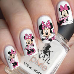 PINK MINNIE MOUSE Nail Art Water Tattoo Transfer Decal Sticker Flower